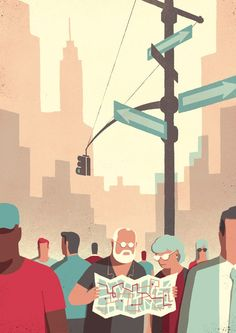 This series is by Italian illustrator Davide Bonazzi. The images follow an elderly couple on their holiday in the big city. After arriving on a coach, they take a look at the sights, ride on the underground...
