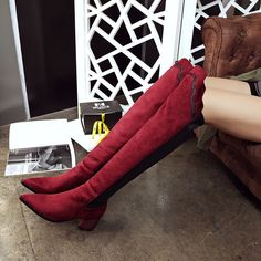 Patchwork Pointed Toe Knee High Boots