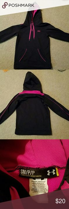Women's Under Armour hoodie Black and pink women's Under Armour hoodie. Super warm and cozy! Great condition. Smoke free home. Feel free to make an offer :) Under Armour Tops Sweatshirts & Hoodies