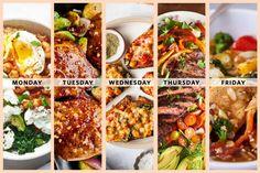 A Week of Easy High-Protein, Veggie-Packed Dinners One Week Meal Plan, Weekend Meal Prep, Healthy Cooking, Healthy Eating, Cooking Recipes, Healthy Recipes, Protein Recipes, Healthy Food, High Protein Dinner