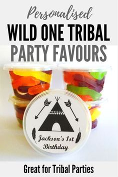 Personalised Tribal Party Favors | Wild One Party Bags | Tubs to fill with sweet treats for kids parties | Great for Wild One or Tribal parties Kids Party Themes, Kid Party Favors, Party Fun, Party Bags, Girl Birthday, Birthday Parties, Tribal Theme, Kids Up, 1st Birthdays