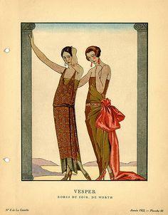 Vesper | Robes du Soir, de Worth    Illustrator: Barbier, George, 1882-1932    Designer: House of Worth    Date: 1922