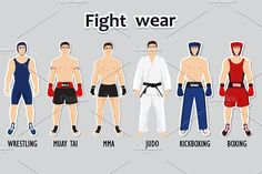 Set of different sport style fighters in wear and equipment. It uses for wrestling, kickboxing, boxing, muay tai, mma and judo. EPS 10 This image is a vector Different Sports, Different Styles, Ana White, Black And White, Fight Wear, Nude Eyeshadow, Judo, Business Card Logo, Kickboxing