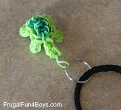 Seven Boy Approved Loom Band Projects - link to YouTube video for turtle charm