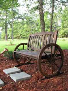 wagon wheel bench outside tasting area