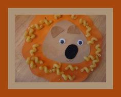 Lion Face Pasta Craft For Kids - so cute!! need paper, felt, googly eyes, macaroni