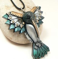 Steampunk Jewelry Hummingbird Pendant Urban Chic Industrial Wings