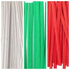 """6000 Paper Twist Ties - 4"""" Green Red White (2000 Each). A green, easy to use paper twist tie. 6000 total ( Red, White, Green -2000 of each). Use twist ties closures to secure your product. Economical and disposable. Ideal for use for bulk foods, produce, and bakery goods."""