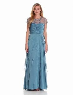 Adrianna Papell Womens Flutter Jewel Gown