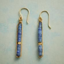 Burnished brass pays complement to deep blue lapis heishi beads on our lovely handmade earrings.