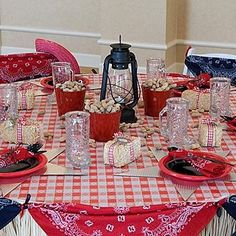 Red bananas from the $1 store tacked together makes a really cute table or end table covers. This way you can buy what ever patio furniture is affordable for you and just cover it with a western theme.