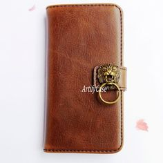 Lion iPhone 6 case, iPhone 6 plus wallet, Samsung Note 3 flip cover, leather galaxy S5 pouch, iPhone 5 card holder case with stand - ArtifyCase