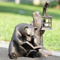Book Loving Bear Garden Lantern, Bear-Sculptures-Statues, 33779 - AllSculptures.com