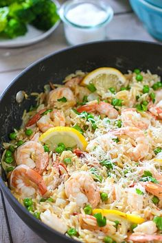 One Skillet 20 Minute Shrimp and Orzo Dinner!  Yay!