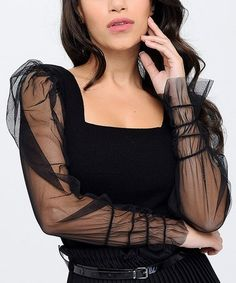 New Laviva Black Sheer-Sleeve Square Neck Top - Women Square Neck Top, Holiday Party Dresses, Neck Design, Sleeves, Black, Tops, Women, Fashion, Moda