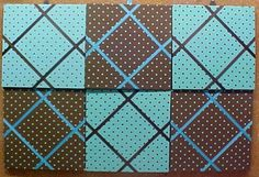"""Collage of Six 12"""" x 12"""" fabric covered cork bulletin boards; black & white polkadots and turquoise and Black polka dots. Pictured are crisscross message ribbons which make an additional interesting embellishment, or YOUR choice of over 1000 fabrics; with or without message ribbons; and lots more at  www.PushPinsAndFabricCorkBoards.com,  Also matching DECORATIVE PUSH PINS. #fabriccorkbulletinboards #decorativepushpins #fabricwallart #interiordesigners"""