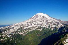 Mt. Rainer standing watch over Washington. Eddie Bauer backdrop.