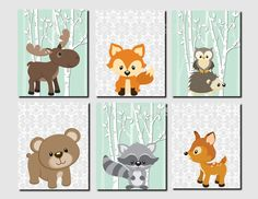 Woodland Nursery, Woodland Wall Decor Kids, Mint, Gray, Girl Nursery Wall Art, Kids Wall Art, Fox, Deer, Moose, Set of 6 Prints or Canvas by vtdesigns on Etsy