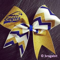 Mascot Bow with chevron. Eagles gold , royal blue glitter and white fabric chevron cheer bob