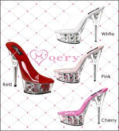 Clear Rose Heel Sandals - Here's a great pair of shoes that would complement any girly coordinate – there are tiny roses embedded in the clear heels! These also show off a feature that's very common in Moery's shoes – the strap that holds your foot in is completely clear, fully showing off how cute your feet are with no strappy distractions! ♥