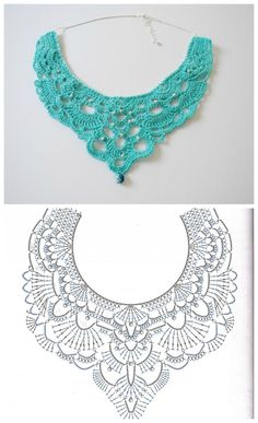 Best 12 Crochet Lace Collar FREE Pattern from dancingbarefoot (Mingky Tinky Tiger + the Biddle Diddle Dee – SkillOfKing.Free crochet chandelier necklace pattern with video tutorial from bhooked by britanny featured in recent sova enterprises com ne Crochet Collar Pattern, Col Crochet, Crochet Necklace Pattern, Crochet Lace Collar, Crochet Jewelry Patterns, Crochet Mask, Crochet Lace Edging, Thread Crochet, Crochet Accessories