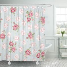 PKNMT Sweet Floral Vintage Pattern Shabby Chic Rose for You Retro Flower Wedding Simple Bathroom Shower Curtain inch Shabby Chic Mode, Shabby Chic Farmhouse, Shabby Chic Pink, Vintage Shabby Chic, Shabby Chic Style, Shabby Chic Decor, Shabby Chic Garden, Chabby Chic, Romantic Shabby Chic