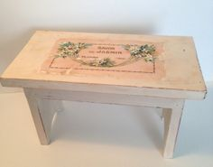 Shabby chic foot stool cream colored with by PillowtasticPlus, $35.00