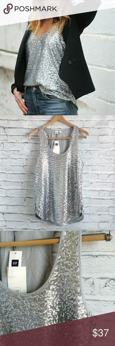 "🆕 with tags GAP sequin tank Holiday style!! Fully lined Rounded hem Chest 17"" Length 26"" GAP Tops Tank Tops"