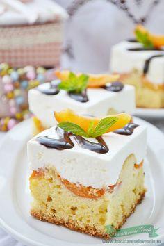 Sweets Recipes, No Bake Desserts, Cake Recipes, Cooking Recipes, Romanian Desserts, Romanian Food, Square Cakes, Dessert Bread, Food Cakes