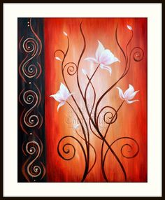 White Flowers Abstract Floral Art Print Free di colorblast su Etsy, $32,00