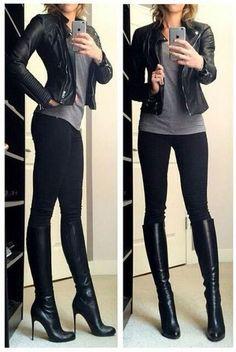 Botas Negras con Tacon #estaesmimodacom #zapatos #botas #tacon #calzado