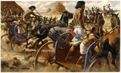 Paintings of Ramses II | 456494. A painting depicts Ramses II heading a charge on Nubian rebels ...