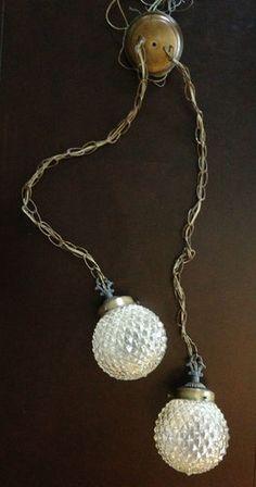 Vintage Mid Century Modern Swag Lamp Hanging Light w Double Pendant Globes   eBay