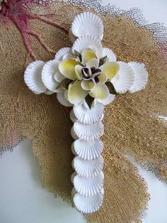 Beach Decor Shell Art Cross with White Shells and Vintage Shell Flower
