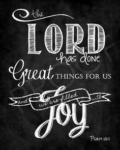 Scripture Art - Psalm 126:3 Chalkboard on Etsy, $15.00