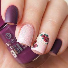 Matte floral nails #summernailart