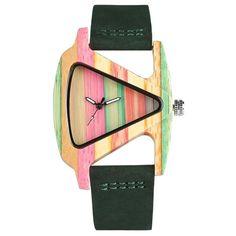 44f5dd22f74 KW Unique Triangle Colorful Dial Women Dress Watch with Black Red Leather  Strap Clock Quartz Handmade Style relogio feminino