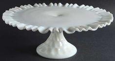 "Fenton""Thumbprint"" Pattern Round Cake Stand in Milk Glass (1955-1962)"
