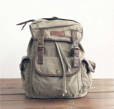 Handmade Leather Canvas Backpack Blue Canvas Backpacks Student Canvas Backpack Leisure Packs on Etsy, $49.90