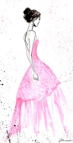 Josephine's Secret - Original Ink and Watercolor Illustration by Joana Miranda Illustration Sketches, Watercolor Illustration, Mode Rose, Fashion Sketches, Fashion Illustrations, Fashion Drawings, Foto Art, Art Plastique, Watercolor And Ink