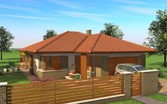 Egyszintes családi ház 167 m2 Modern Family House, Simple House Design, Facade House, Cottage Style, My Dream Home, Bungalow, My House, Gazebo, House Plans