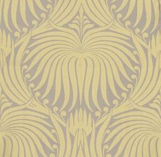 Lotus (BP 2047) - Farrow & Ball Wallpapers - An elegant artisanal lotus-flower in a repetitive design. Shown here in yellow on taupe water based paints - more colours are available. Please request a sample for true colour match.