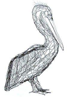pelican wire sculpture by wire sculptor Elizabeth Berrien.