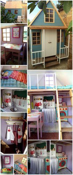 Casa de juegos infantil Lexie and Charlie got a playhouse! Girls Playhouse, Backyard Playhouse, Build A Playhouse, Playhouse Ideas, Inside Playhouse, Treehouse Ideas, Cubby Houses, Play Houses, Casas Club