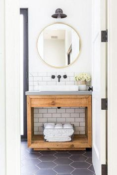Take a look at these black and white modern farmhouse bathroom ideas! If you need a little farmhouse bathroom decor inspiration, you're about to see a myriad of ways to utilize a classic farmhouse black and white color scheme to it's full advantage. Bathroom Renos, Bathroom Renovations, Bathroom Interior, Small Bathroom, Bathroom Ideas, Master Bathroom, Wood Bathroom, Bathroom Organization, Bathroom Designs