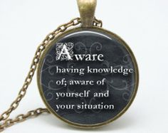 Aware Pendant Charm Necklace Inspirational Phrase Word Jewelry (Item PHRB24)