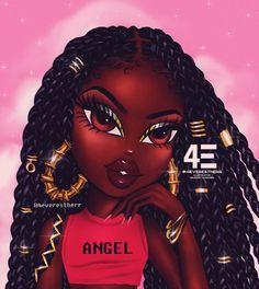 Watermelonjuice commissions are open btw illustration drawing art greenhair blackgirl comics cartoon melanin brownskingirls knotless box braids blackgirl