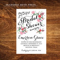 Calligraphic Floral Bridal Shower Invitation: Homemade is always better