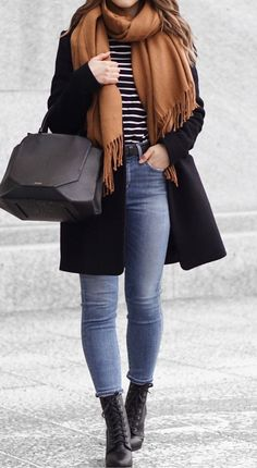 #winter #outfits brown scarf and blue denim jeans