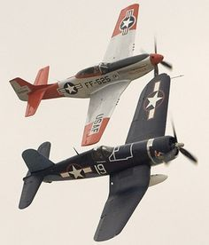 Vought F4U Corsair and P51 Mustang formation.